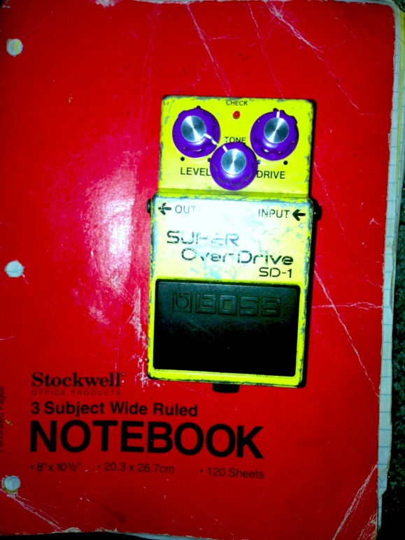 Notebook + overdrive pedal